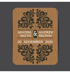 Wooden wedding invitation3 vector