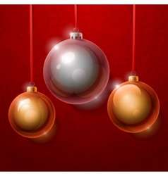 Christmas tree silver and golden realistic shiny vector image vector image