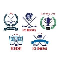 Ice Hockey sporting heraldic emblems and symbols vector image