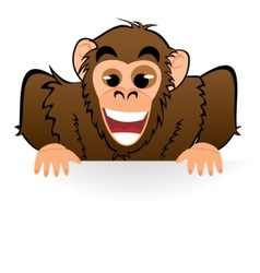 Monkey behind white board vector image
