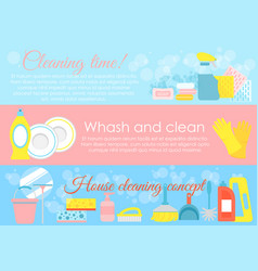 set of house cleaning elements vector image