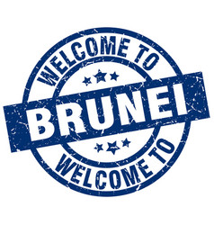 welcome to brunei blue stamp vector image vector image