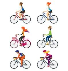 Bicycle Riders Man Woman People vector image