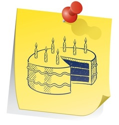 doodle sticky note birthday cake vector image vector image