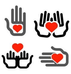 hands and heart logo design template vector image