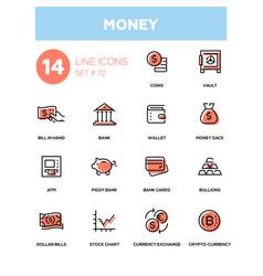 money - line design icons set vector image