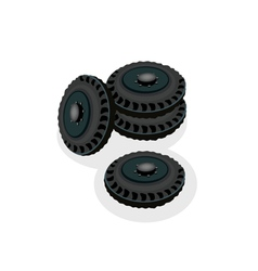 A Heap of Car Wheels Isolated on White Background vector image vector image