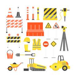 cartoon road construction color icons set vector image