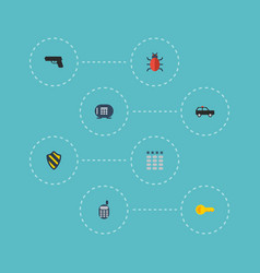flat icons virus gun safe and other vector image vector image