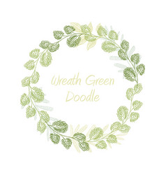greenery doodle leaf wreath vector image