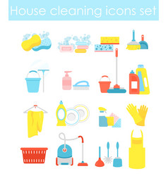 house cleaning icons set vector image vector image