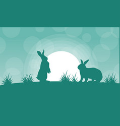 silhouette of bunny and light landscape vector image vector image
