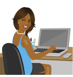 african american woman sitting in office vector image vector image