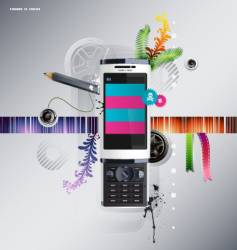 cellular phone with pattern vector image vector image