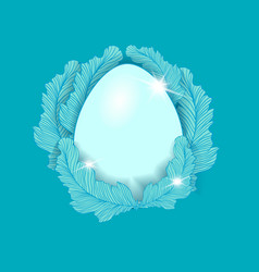 easter egg element on the blue background vector image vector image