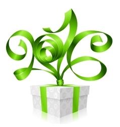 green ribbon and gift box 2016 vector image
