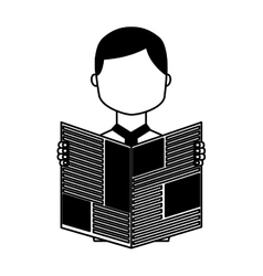 Man reading newspaper icon vector