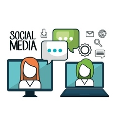 technology social media design isolated vector image vector image