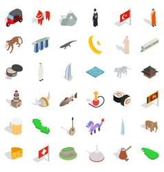 world landmark icons set isometric style vector image