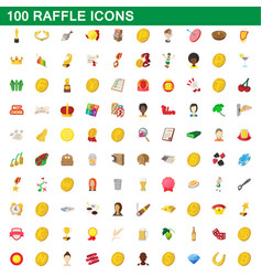 100 raffle icons set cartoon style vector image