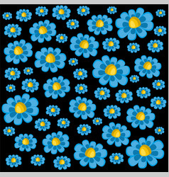 a pattern of blue daisies vector image