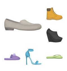 A variety of shoes cartoon icons in set collection vector