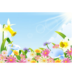 abundance of blooming flowers at spring time vector image