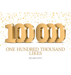 anniversary or event 100000 gold 3d numbers vector image