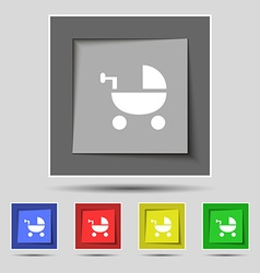 Baby Stroller icon sign on original five colored vector image