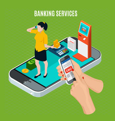 Banking services isometric composition vector