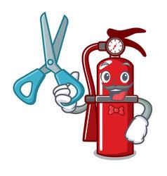 Barber fire extinguisher character cartoon vector