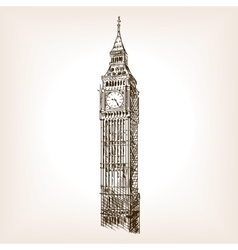 Big ben tower hand drawn sketch style vector