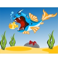 Big fish sails for small vector image