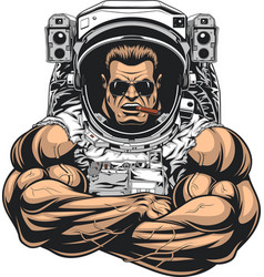 bodybuilder in an astronaut suit vector image