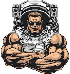 Bodybuilder in an astronaut suit vector
