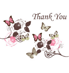 butterflies vintage thank you vector image