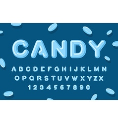 Candy font ABC of caramel Sweet alphabet Blue vector