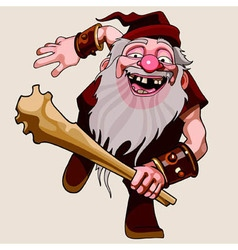 cartoon cheerful old man with a beard running vector image