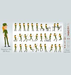Cartoon flat soldier girl character big set vector