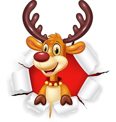 Cartoon funny deer with blank sign Isolated vector image