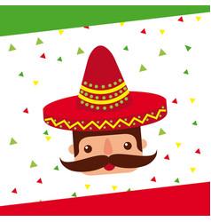 cartoon mexican man with mustache in a sombrero vector image