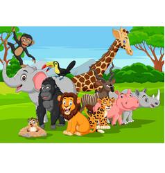 cartoon wild animals in jungle vector image