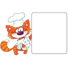 cat the cook and blank vector image