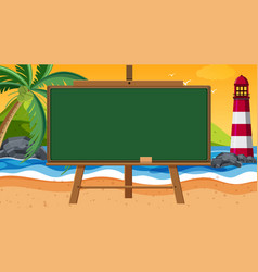 Chalkboard with ocean at sunset background vector