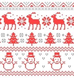 Christmas Scandinavian Pixel Seamless Pattern vector image
