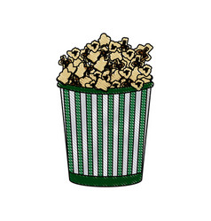 Cinema cardboard striped popcorn snack bucket vector