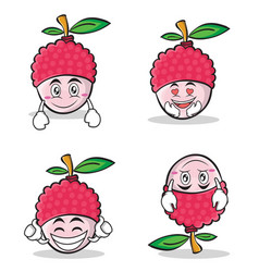 Collection set lychee cartoon character style vector