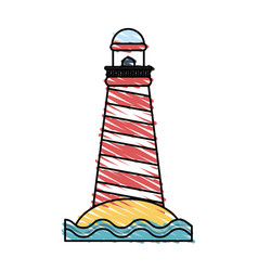 Color crayon stripe image red striped lighthouse vector