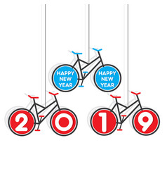 colorful bicycle new year 2019 poster design vector image