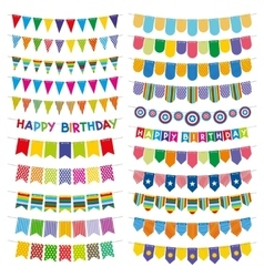 Colorful bunting flags and garlands Birthday vector
